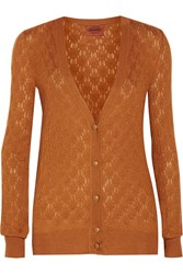 Missoni Cashmere And Silk Blend Cardigan Brown