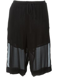 Lost And Found Layered Knee Shorts Black