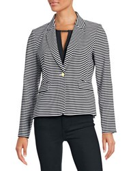 Calvin Klein Striped One Button Blazer Black White