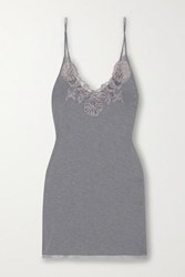 I.D. Sarrieri Lace And Satin Trimmed Modal Blend Chemise Light Gray