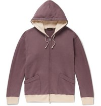 Chimala Contrast Trimmed Loopback Cotton Jersey Hoodie Grape