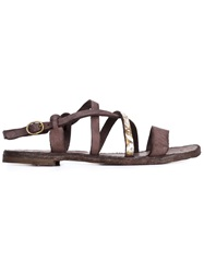 Officine Creative Distressed Flat Sandals Grey