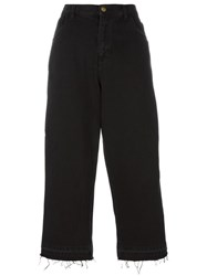 Laneus Contrast Piped Cropped Trousers Black
