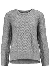 Maje Cable Knit Sweater Gray