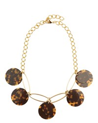 Jaeger Taylor Tortoiseshell Disc Necklace Brown