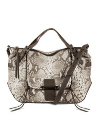 Kooba Gwenyth Large Snake Print Leather Satchel Bag Natural