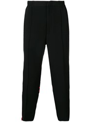 Alexander Mcqueen Track Style Cropped Trousers Black