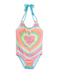 Pilyq Neon Heart Embroidered One Piece Swimsuit Multicolor
