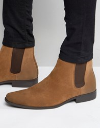 Asos Chelsea Boots In Tan Faux Suede Tan
