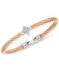 Charriol White Topaz Two Tone Bangle Bracelet 5 8 Ct. T.W. In Stainless Steel And Rose Gold Tone Pvd Stainless Steel