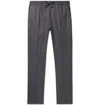 Brioni Grey Slim Fit Wool And Cashmere Blend Flannel Drawstring Trousers Gray
