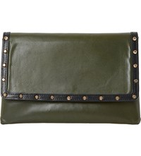 Dune Studded Leather Envelope Clutch Bag Khaki Leather