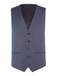 Howick Men's Tailored Dayton Pindot Slim Fit Suit Waistcoat Airforce Blue