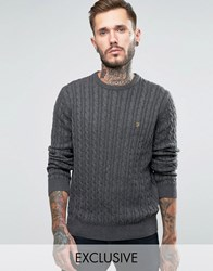 Farah Jumper With Cable Knit Exclusive Charcoal Grey