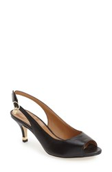 J. Renee Women's 'Gardenroad' Slingback Peep Toe Pump Black Leather