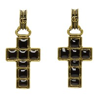 Gucci Black And Gold Cross Pendant Earrings