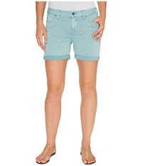 Liverpool Vickie Shorts Rolled Cuff In Stretch Peached Twill In Slate Blue Slate Blue Women's Shorts