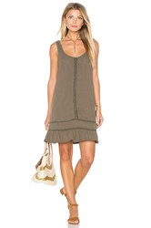 Michael Stars Double Gauze Scoop Neck Crochet Dress Olive
