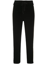 Mother Lounger Ankle Track Pants Black