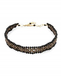 Nakamol 4 Row Crystal Beaded Choker Necklace Black