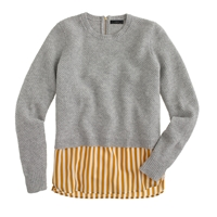 J.Crew Lambswool Shirttail Sweater In Stripe Hthr Dove