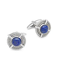 Alor Round Two Tone Cuff Links Silver