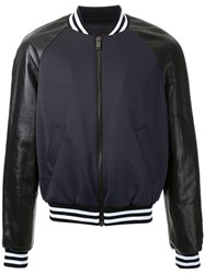 Les Hommes Leather Sleeves Bomber Jacket Black