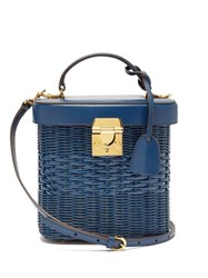 Mark Cross Benchley Rattan And Leather Shoulder Bag Navy