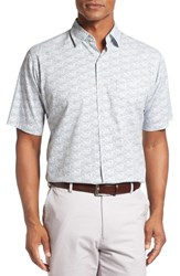 Peter Millar Men's Seaside Sailboats Regular Fit Short Sleeve Sport Shirt