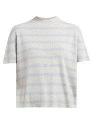 Barrie Summer Vibration Striped Cashmere Sweater Grey Multi