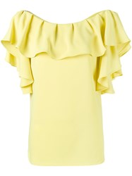 P.A.R.O.S.H. Ruffle Neck Top Women Polyester S Yellow Orange