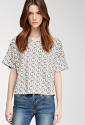 Forever 21 Abstract Print French Terry Top Cream Black