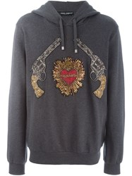 Dolce And Gabbana Sacred Heart Gun Patch Hoodie Grey
