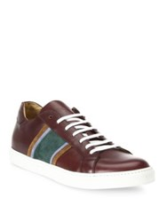 Sutor Mantellassi Leather Lace Up Sneakers Aubergine