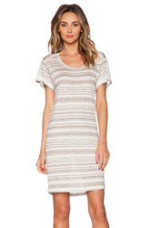 Velvet By Graham And Spencer Heather Stripe Linen Vika Dress Gray