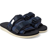 Suicoke Moto Suede Nylon And Webbing Sandals Navy