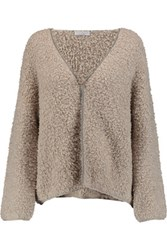 Brunello Cucinelli Bead Embellished Cashmere Blend Boucle Cardigan Taupe
