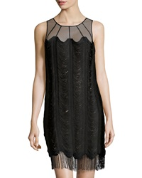 Kay Unger New York Mesh Yoke Fringe Cocktail Dress
