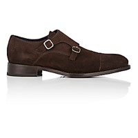 Isaia Men's Cap Toe Double Monk Strap Shoes Dark Brown