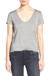 Paige Women's 'Lynnea' V Neck Pocket Tee Light Heather Grey