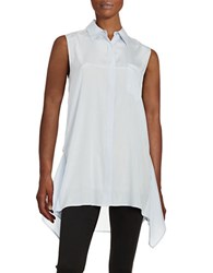 Dkny Sleeveless Asymmetrical Blouse Oxford Blue