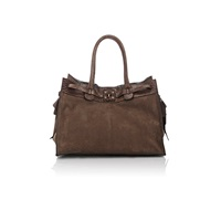 Zagliani Python Trimmed Gatsby Large Tote Brown