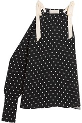 Monse One Shoulder Polka Dot Silk Crepe Top Black