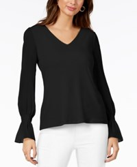 Thalia Sodi Chiffon Sleeve Top Created For Macy's Deep Black