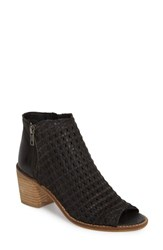 Sbicca 'S Waterfront Peep Toe Bootie Black Leather