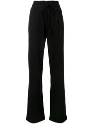 Thom Krom Flared Drawstring Trousers Black
