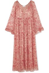 Zimmermann Castile Printed Silk Crepon Maxi Dress Antique Rose