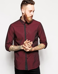 Asos Smart Shirt In Long Sleeve With Polka Dot Trim Burgundy