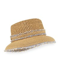 Eric Javits Lulu Woven Squishee Bucket Hat Brown