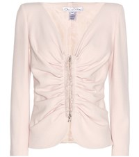 Oscar De La Renta Virgin Wool Blend Crepe Jacket Pink